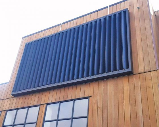 Vertical sun protection blades with horizontal louvers on sale